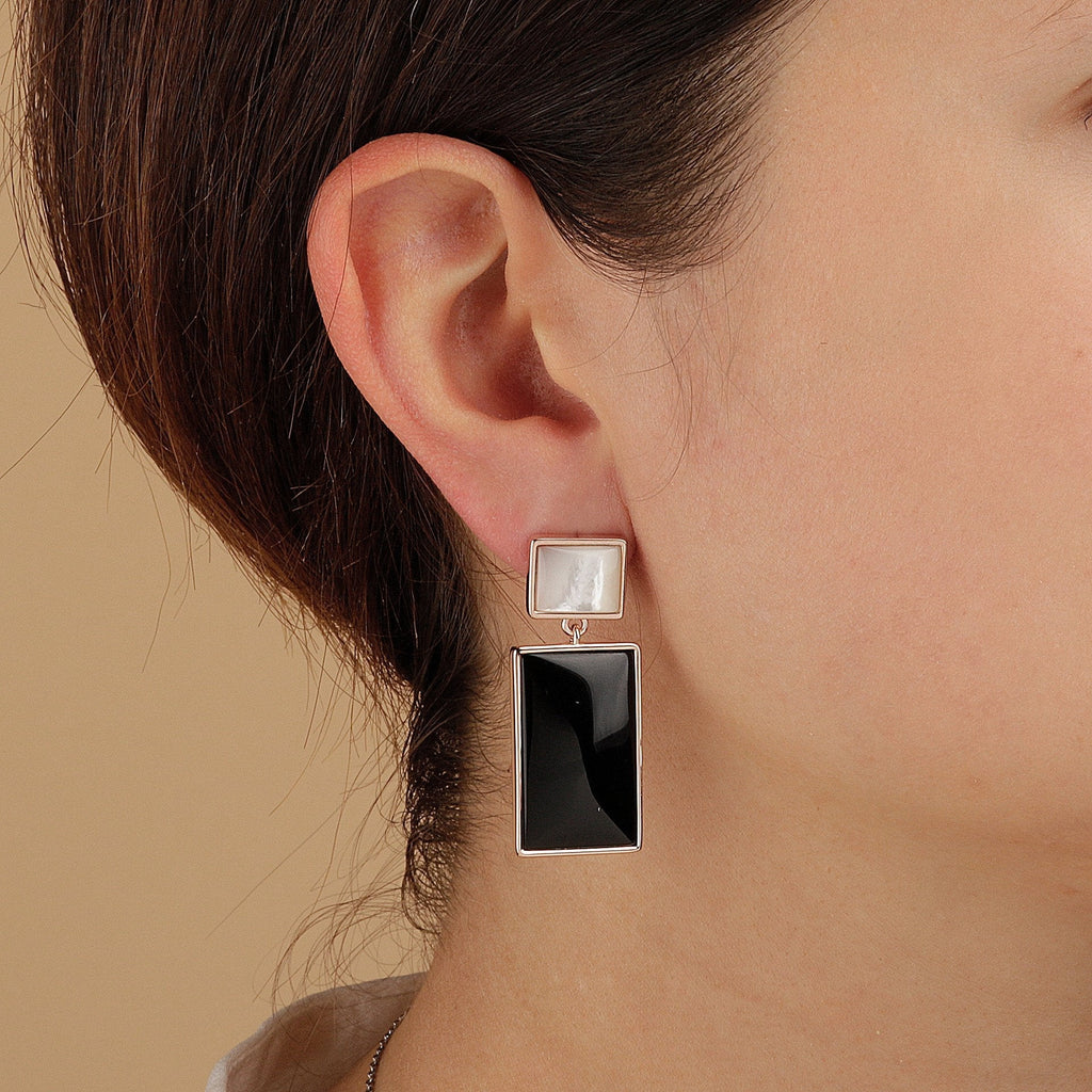 Bronzallure Mother of Pearl and Natural Stone Rectangular Earrings Earrings Bronzallure