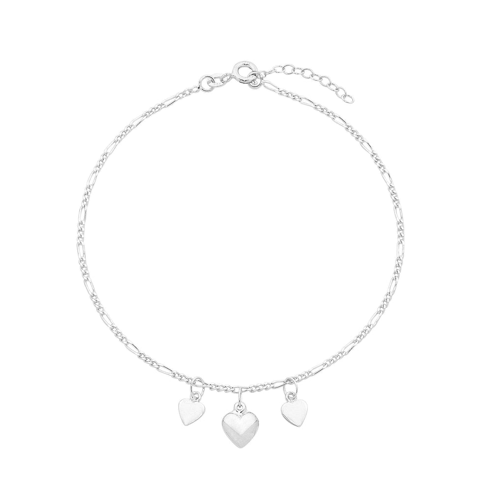 Sterling Silver Heart Charm Anklet 25cm