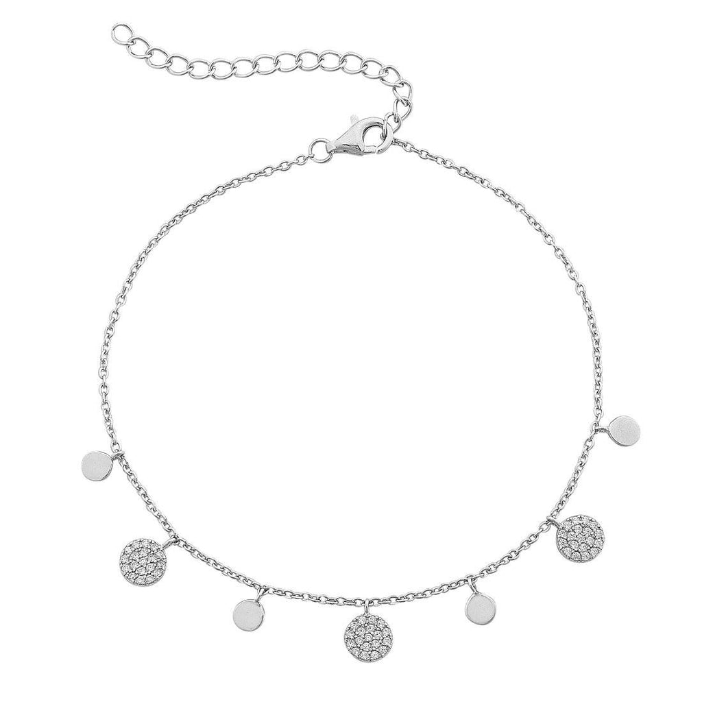 Sterling Silver Plain and Large Cubic Zirconia Pave Disc Charm Anklet