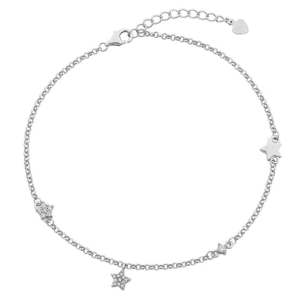 Sterling Silver White Cubic Zirconia Pave Star Anklet