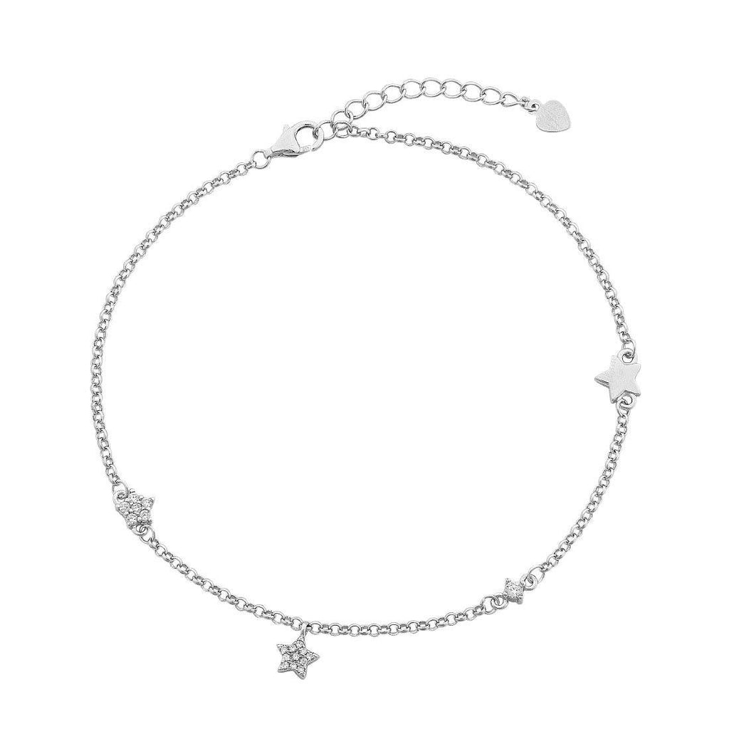 Sterling Silver and Pave Stars Station Choker Necklace 35+5cm Necklaces Bevilles