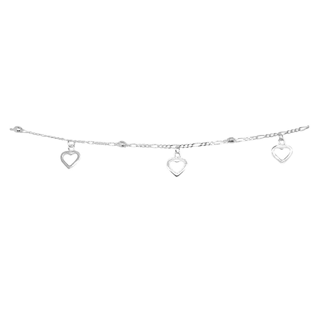 Sterling Silver and 3 Open Hearts with Balls Station Choker Necklace 35+5cm Necklaces Bevilles