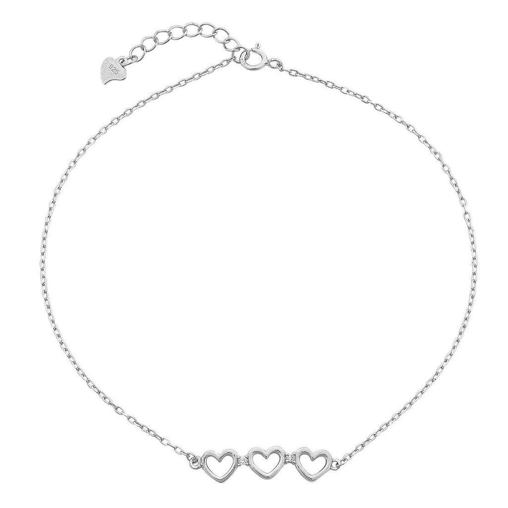 Sterling Silver Open Heart White Cubic Zirconia Anklet