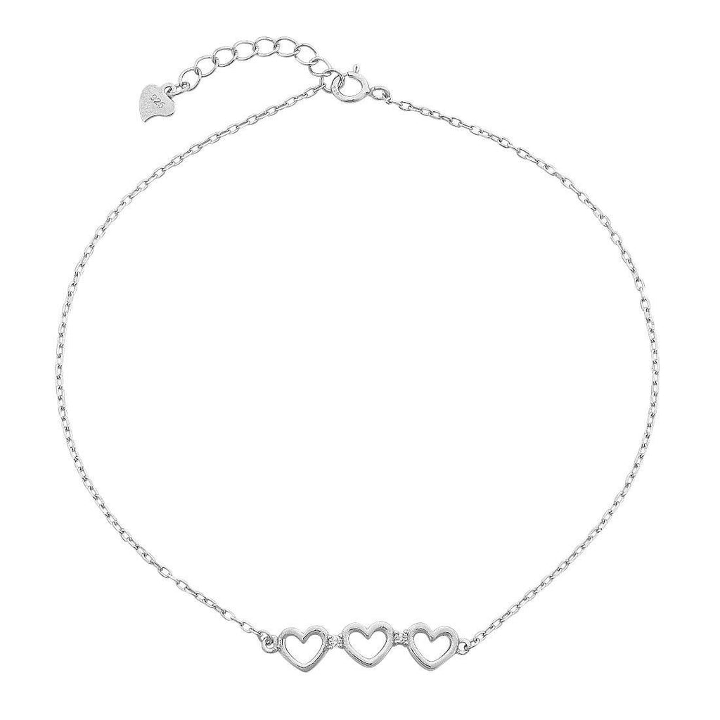 Sterling Silver and 3 Open Hearts with Cubic Zirconia Station Choker Necklace 35+5cm Necklaces Bevilles
