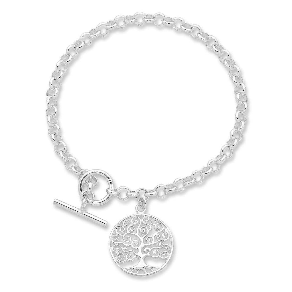Sterling Silver Tree of Life Belcher Bracelet