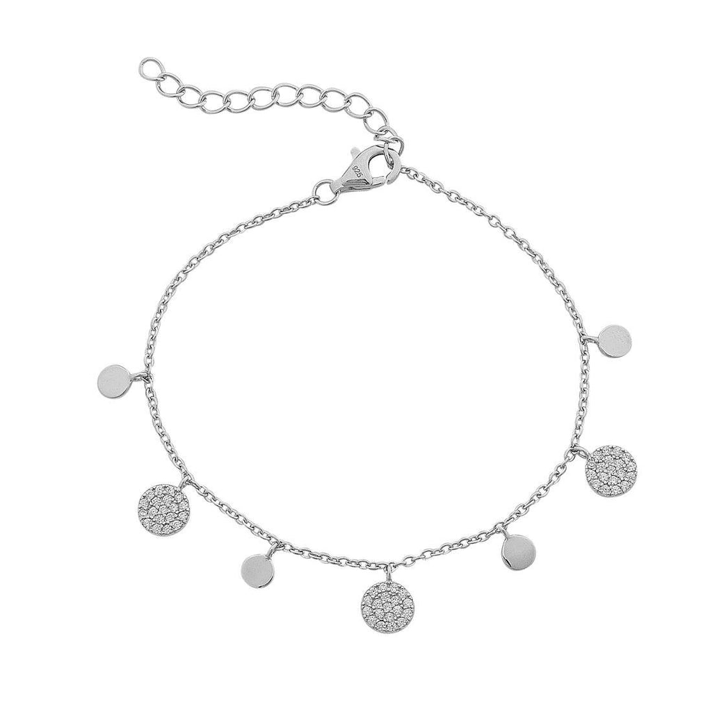 Sterling Silver Plain and Large Cubic Zirconia Pave Disc Bracelet