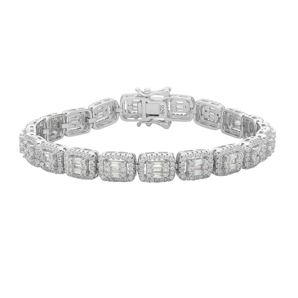 Sterling Silver White Cubic Zirconia Square Surround Bracelet
