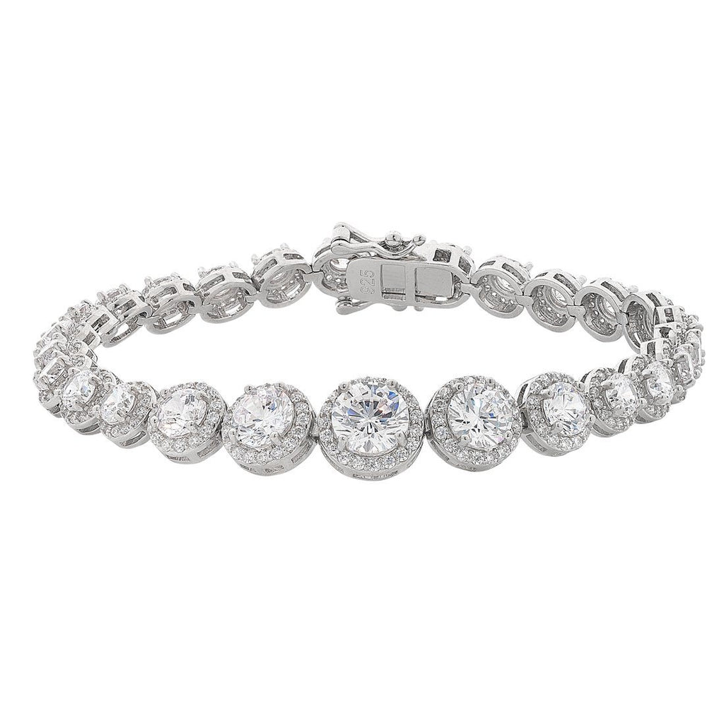 Sterling Silver Cubic Zirconia Round Halo Surround Bracelet