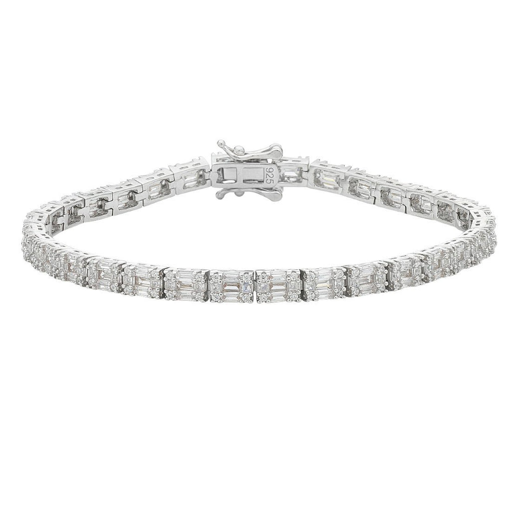 Sterling Silver White Cubic Zirconia Brilliant Tennis Bracelet