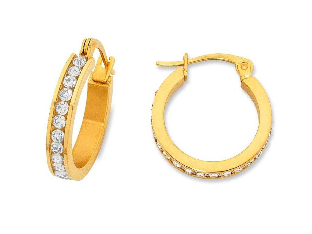 20mm Yellow Stainless Steel Channel Crystal Hoop Earrings