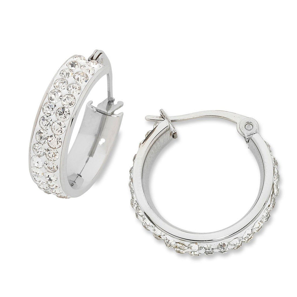20mm White Stainless Steel Pave Crystal Hoop Earrings Earrings Bevilles