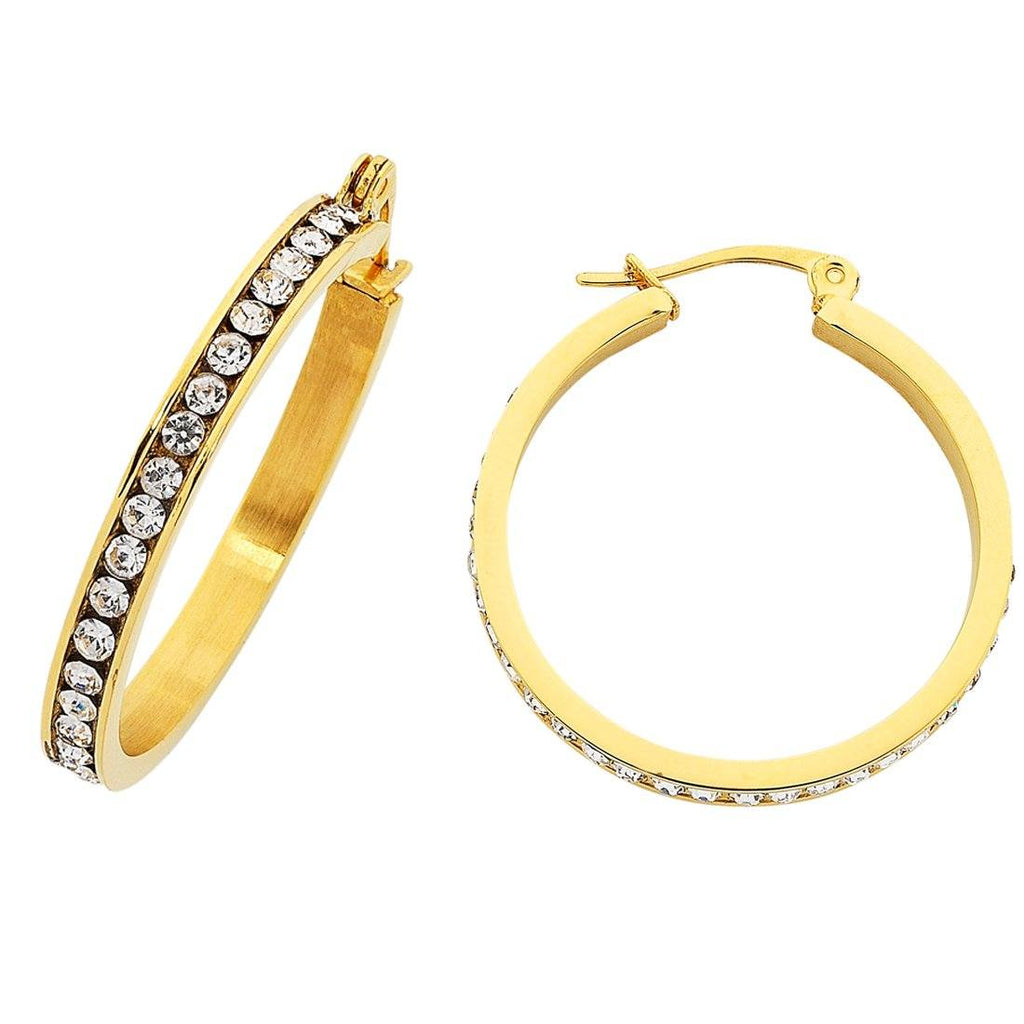 30mm Yellow Stainless Steel Channel Hoop Earrings Earrings Bevilles