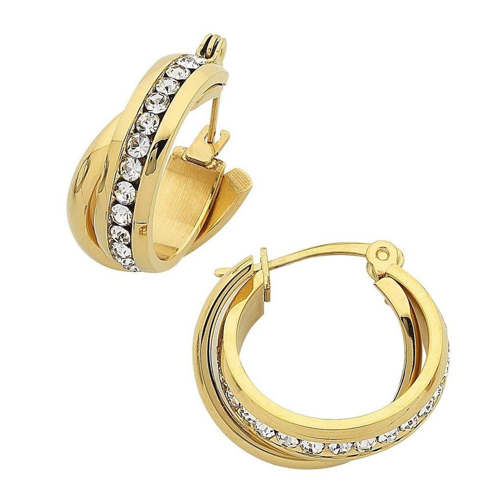 Stainless Steel Gold Colour Crystal Crossover Hoop Earrings