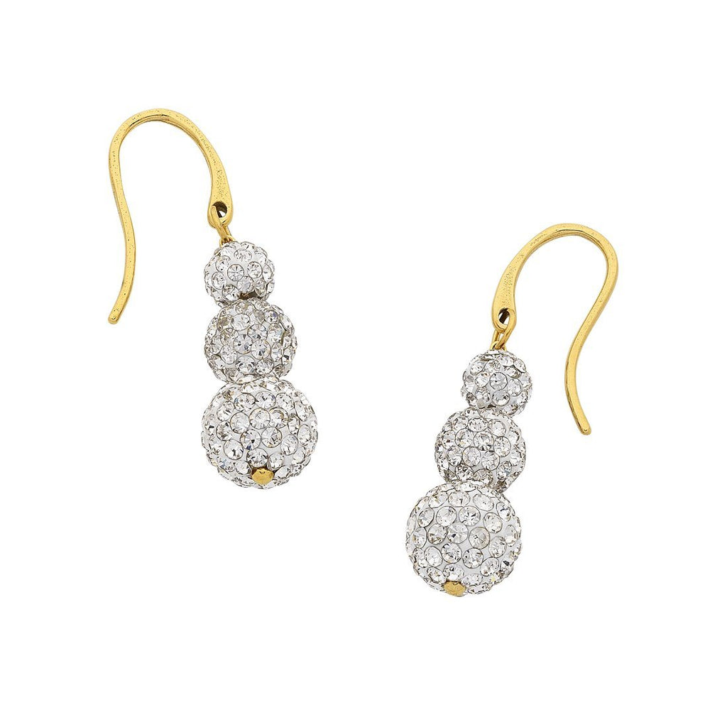Yellow Crystal Ball Drop Earrings in Stainless Steel