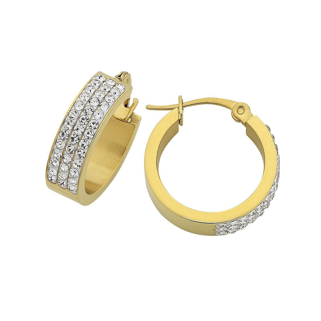 Stainless Steel Yellow Gold Pave Crystal Hoop Earrings