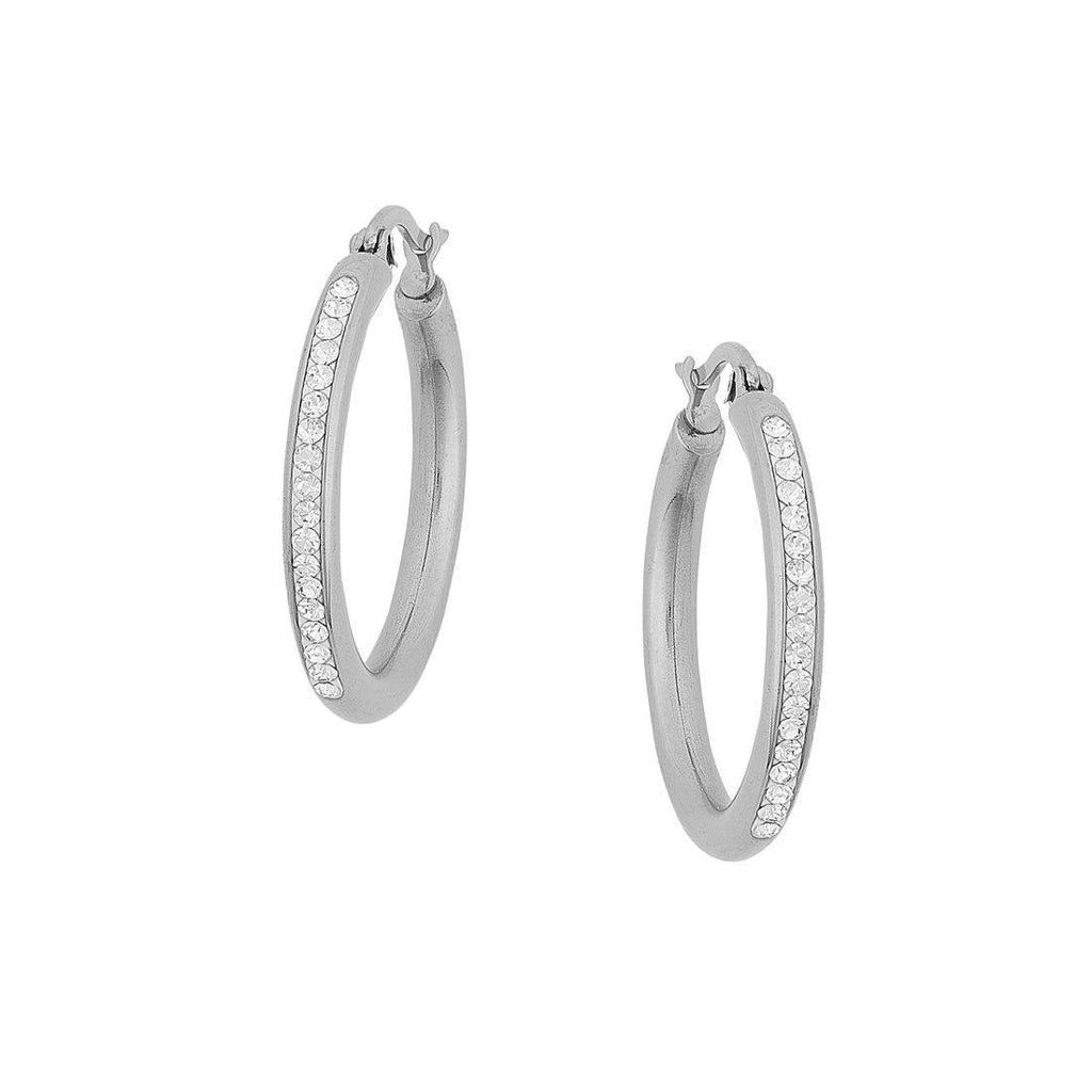 Stainless Steel Crystal Pave Hoop Earrings Earrings Bevilles