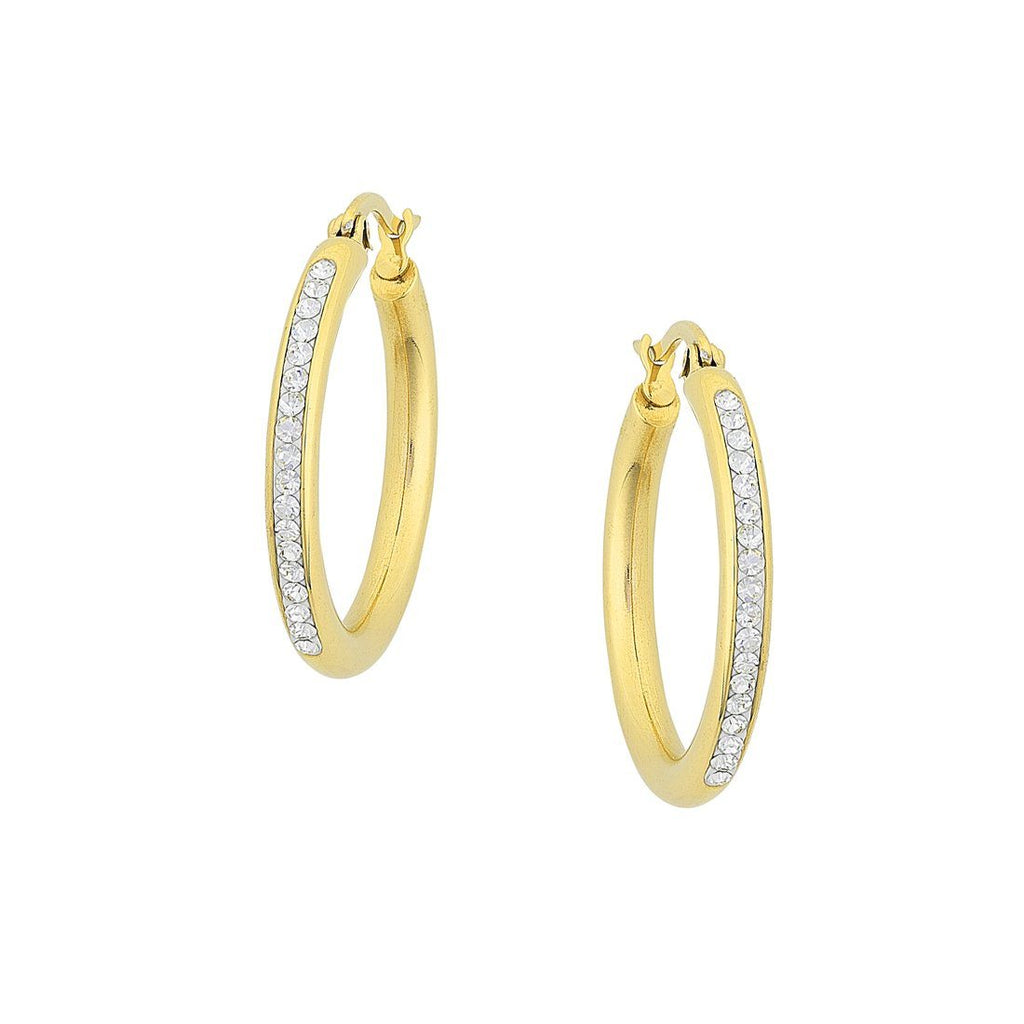 Yellow Stainless Steel Crystal Pave Hoop Earrings