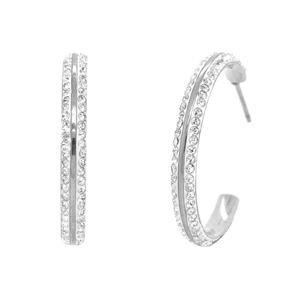 Stainless Steel White Pave Crystal Hoop Earrings Earrings Bevilles
