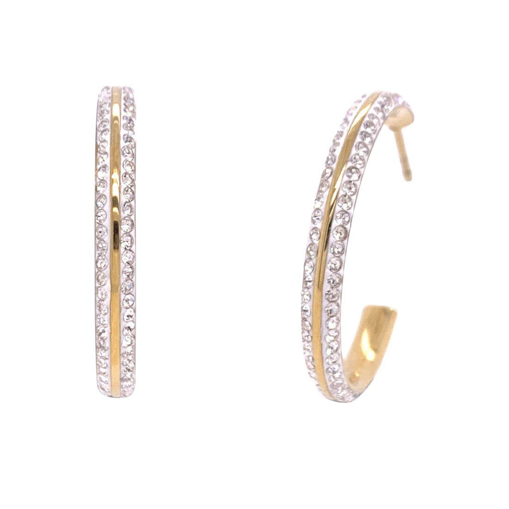 Yellow Stainless Steel Crystal Pave Hoop Earrings Earrings Bevilles