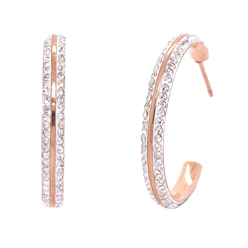Rose Stainless Steel Crystal Pave Hoop Earrings Earrings Bevilles