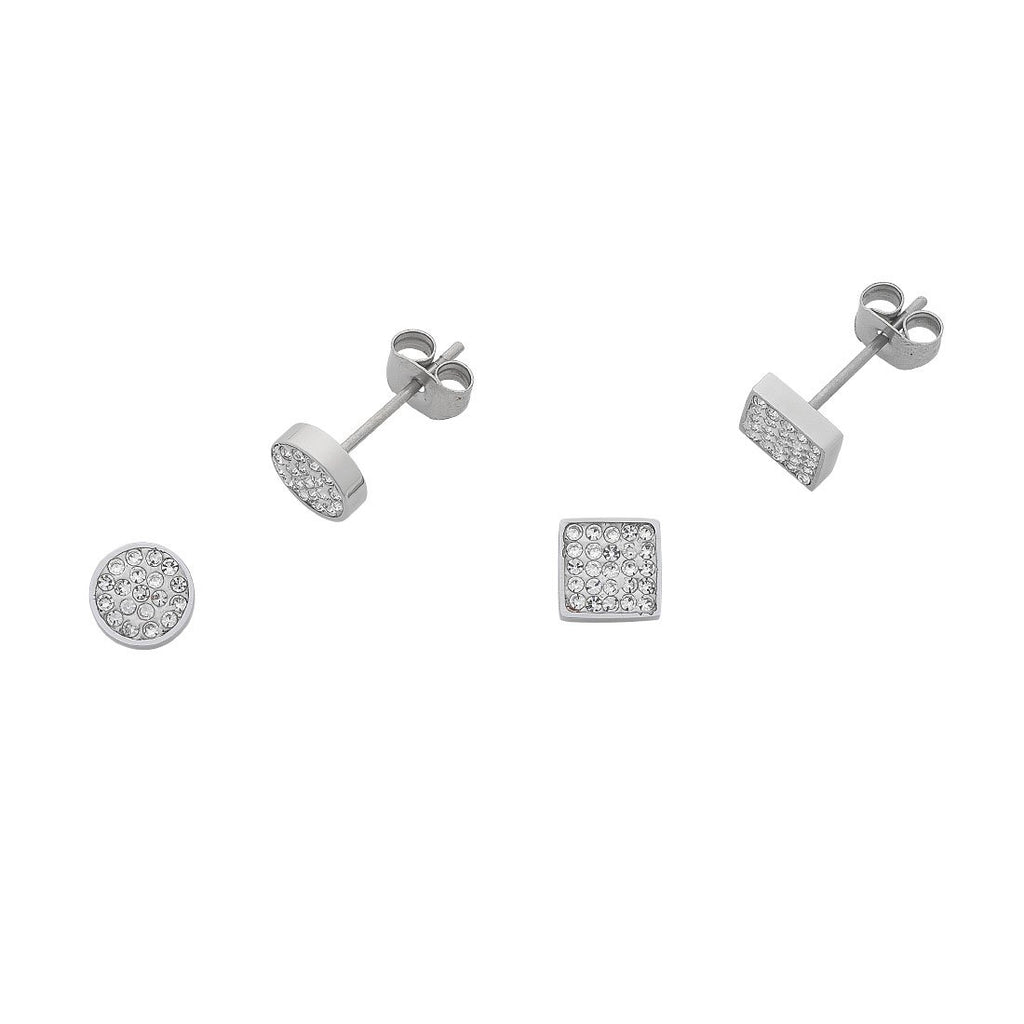 Stainless Steel Crystal Two Stud Earring Set