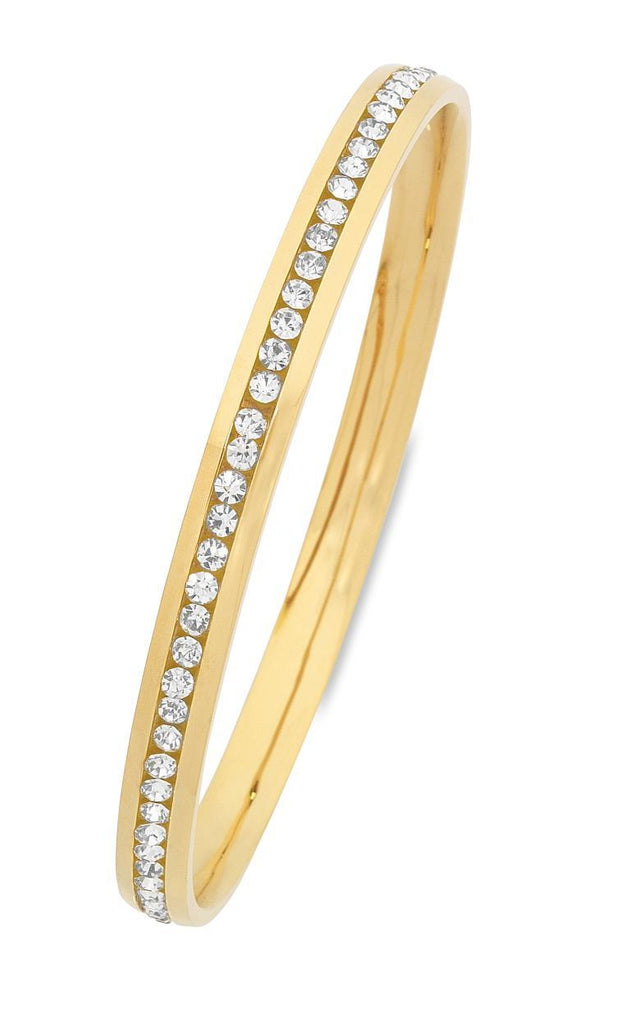 Yellow Stainless Steel Channel Crystal Bangle Bracelets Bevilles