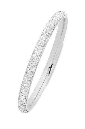 White Stainless Steel Pave Crystal Bangle 60-63-65mm