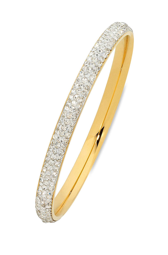 Pave Crystal Bangle in Yellow Stainless Steel Bracelets Bevilles