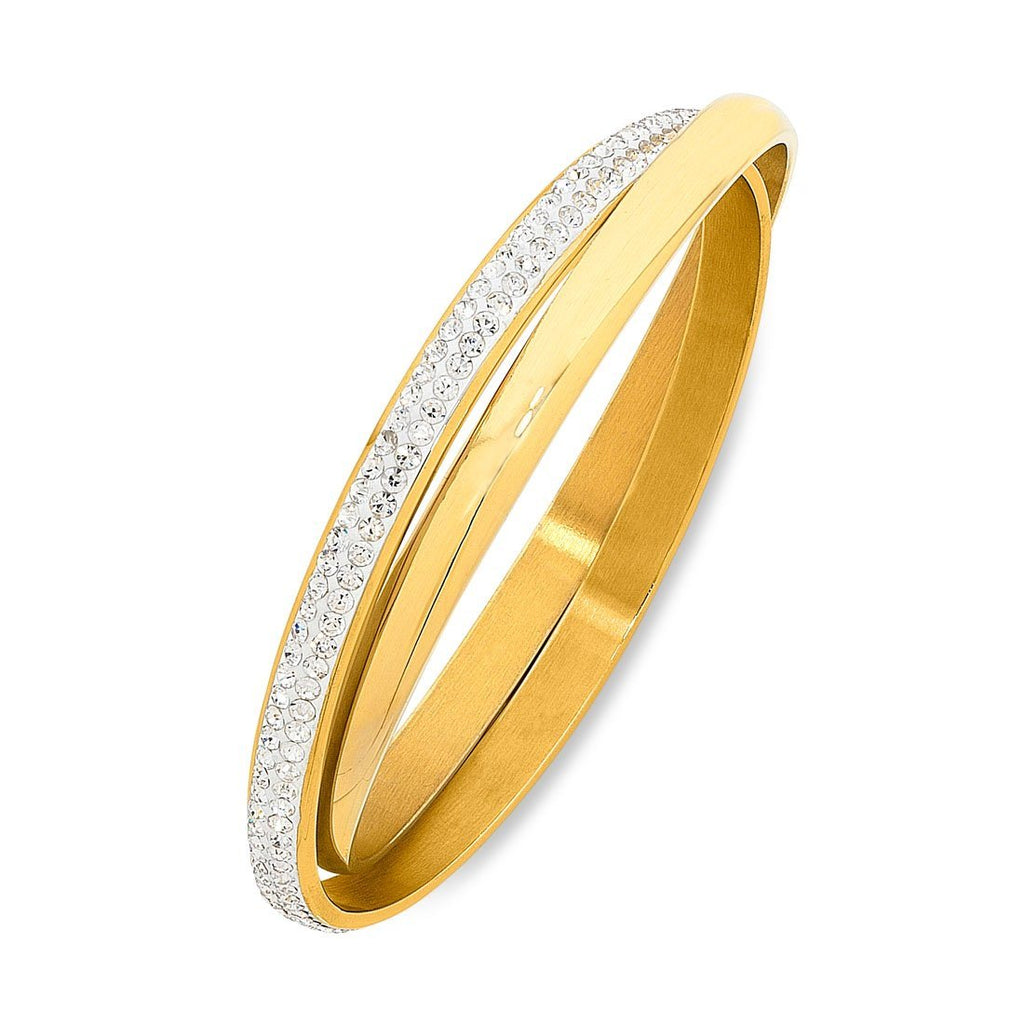 Stainless Steel Gold Colour Plain & Crystal Double Bangle Bracelets Bevilles