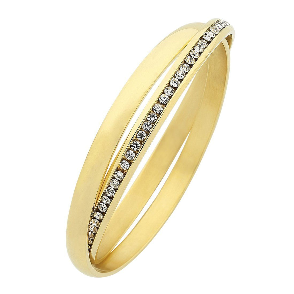 Stainless Steel Gold Colour Crystal And Plain Double Bangle Bracelets Bevilles