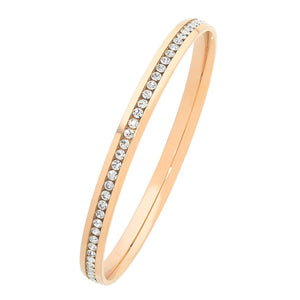 Rose Stainless Steel Channel Crystal Bangle 60-63-65mm