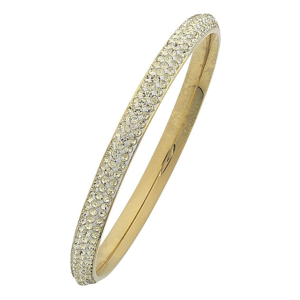 Yellow Stainless Steel Yellow Crystal Pave Bangle