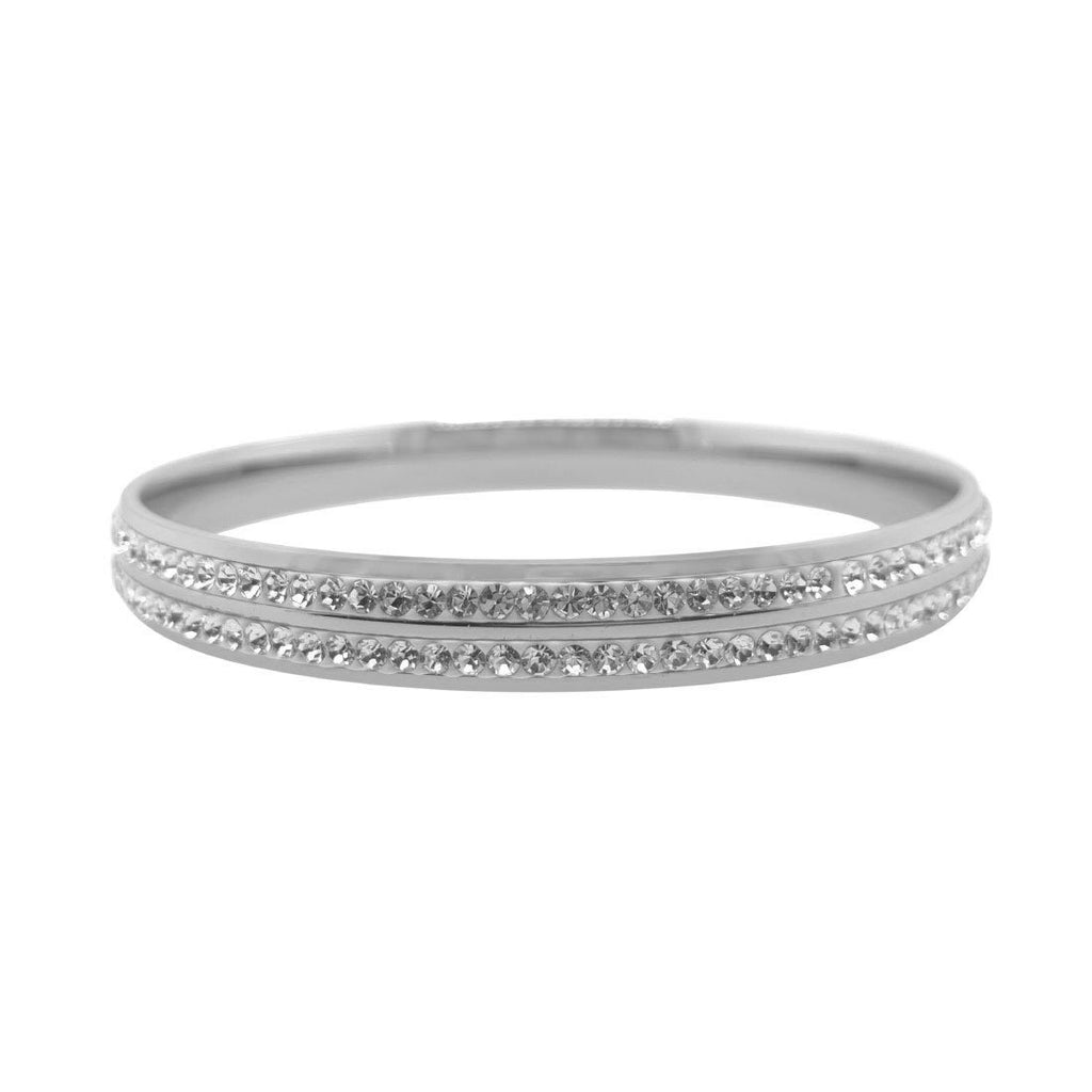 Stainless Steel Pave Crystal Bangle