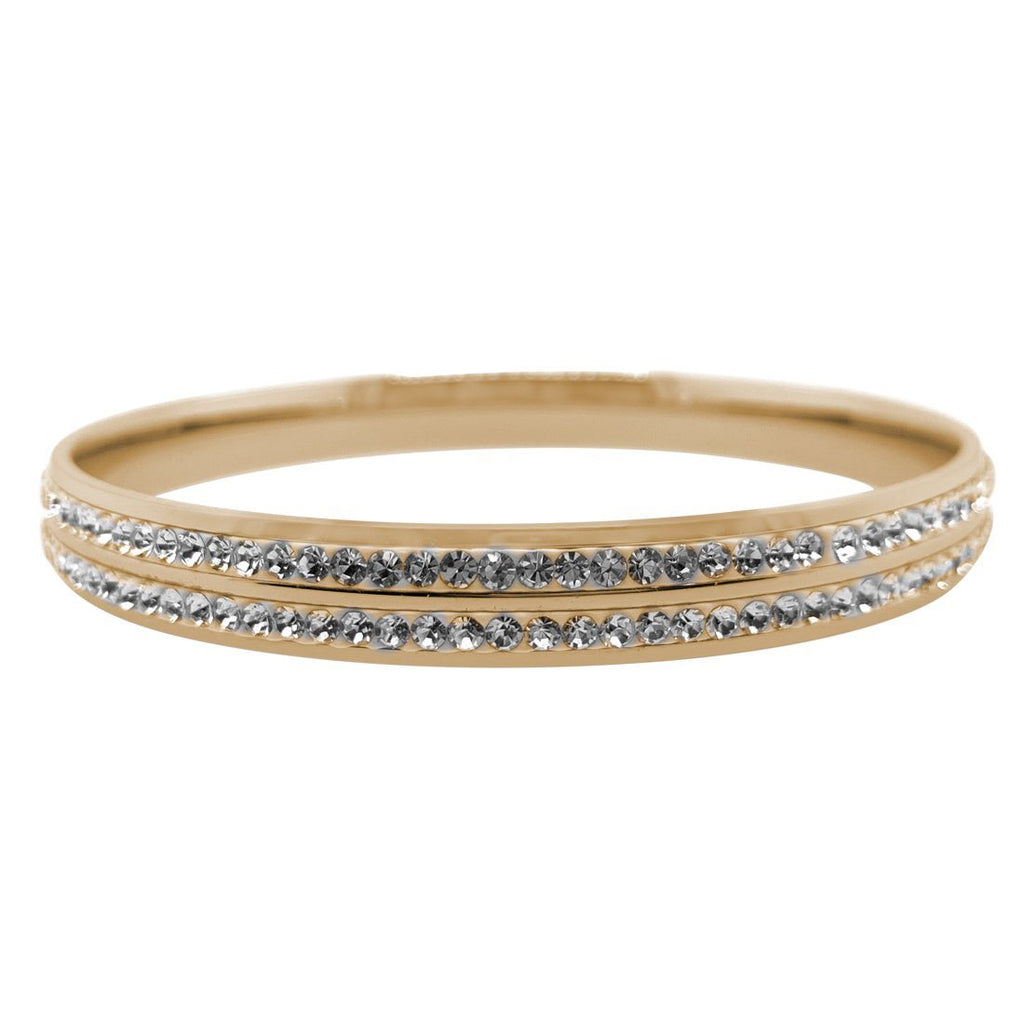 Yellow Stainless Steel Pave Crystal Bangle