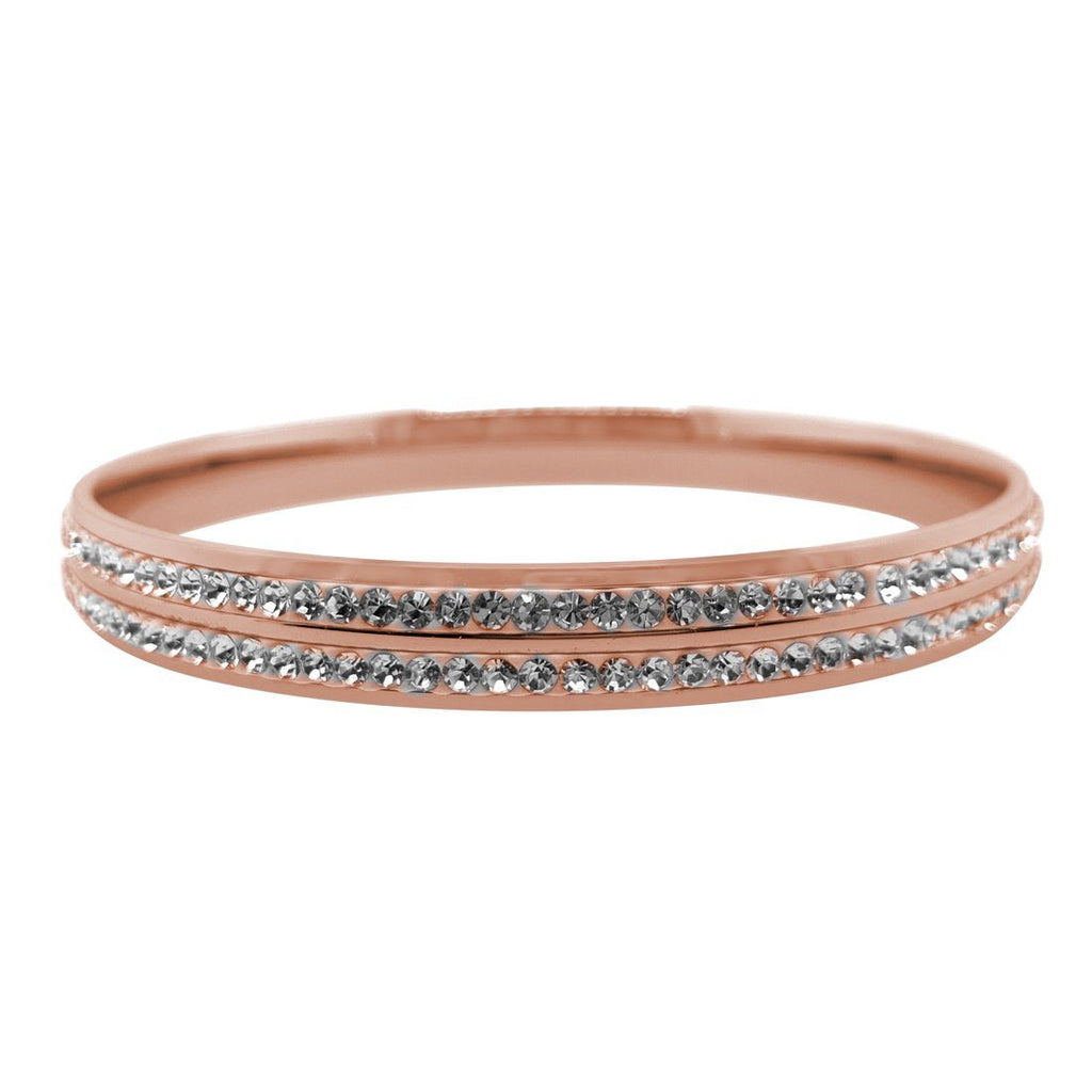 Rose Stainless Steel Pave Crystal Bangle