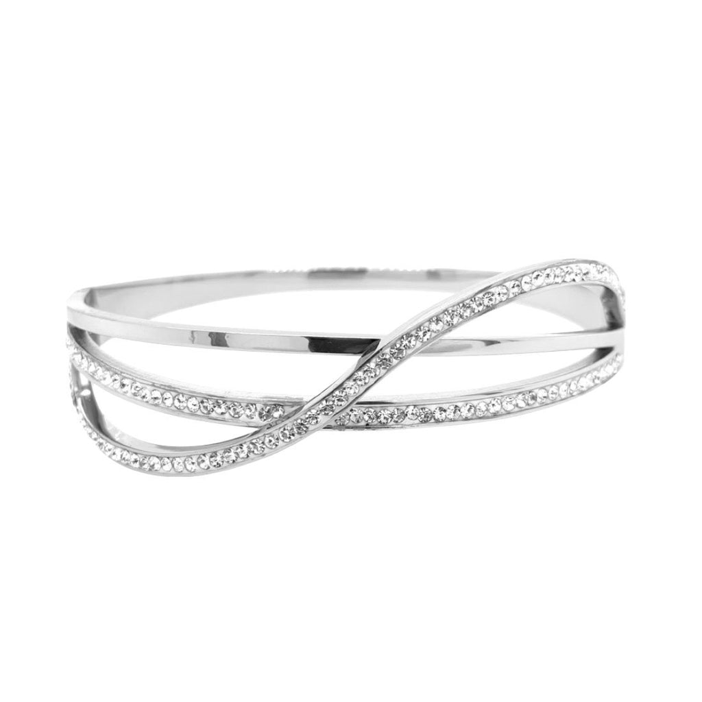 Stainless Steel Plain Crystal Crossover Bangle