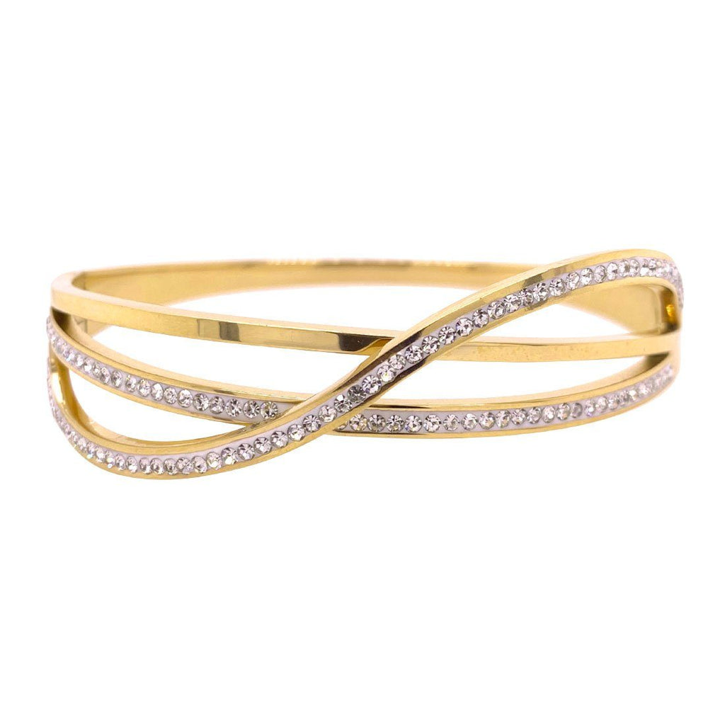 Yellow Stainless Steel Plain Crystal Crossover Bangle