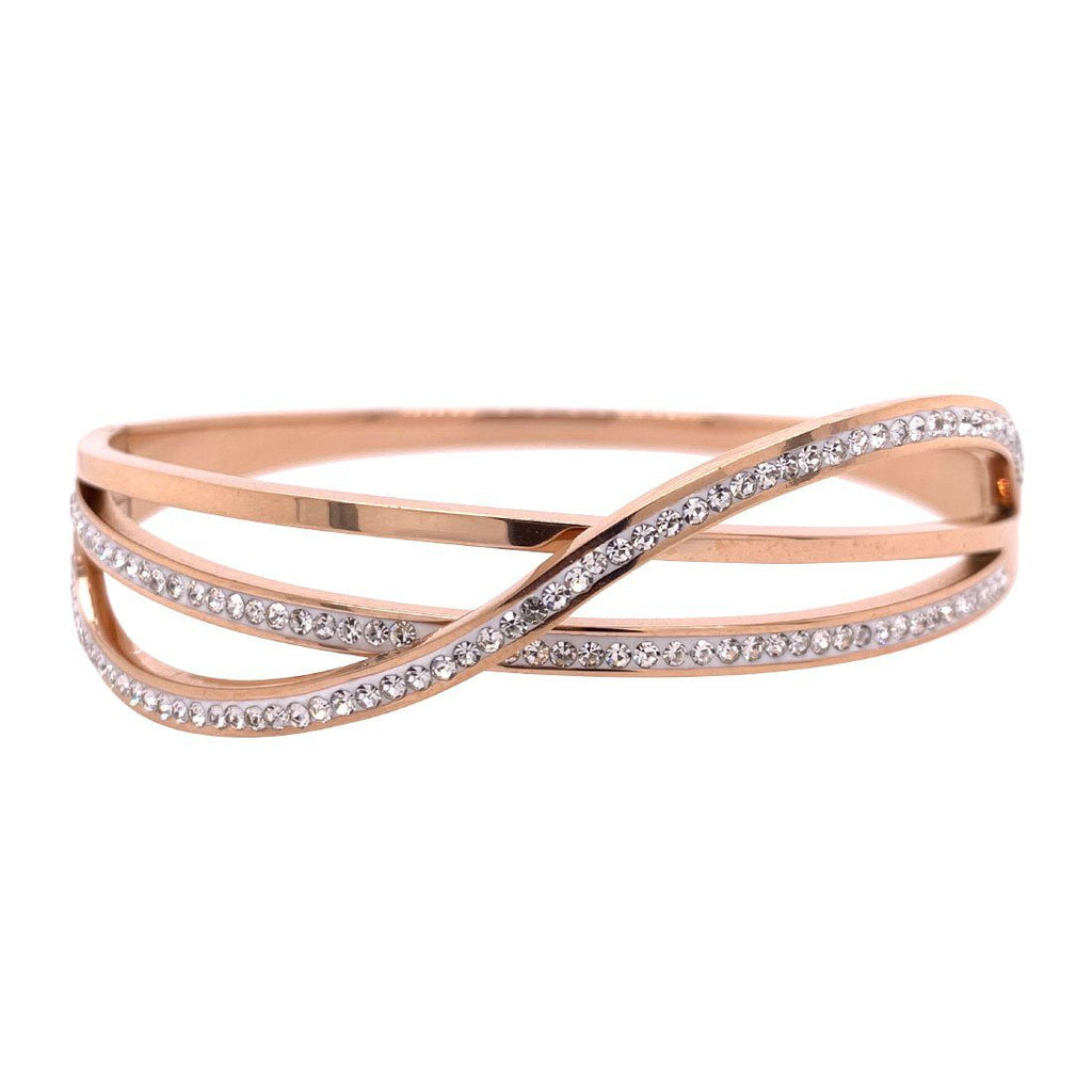 Rose Stainless Steel Plain Crystal Crossover Bangle