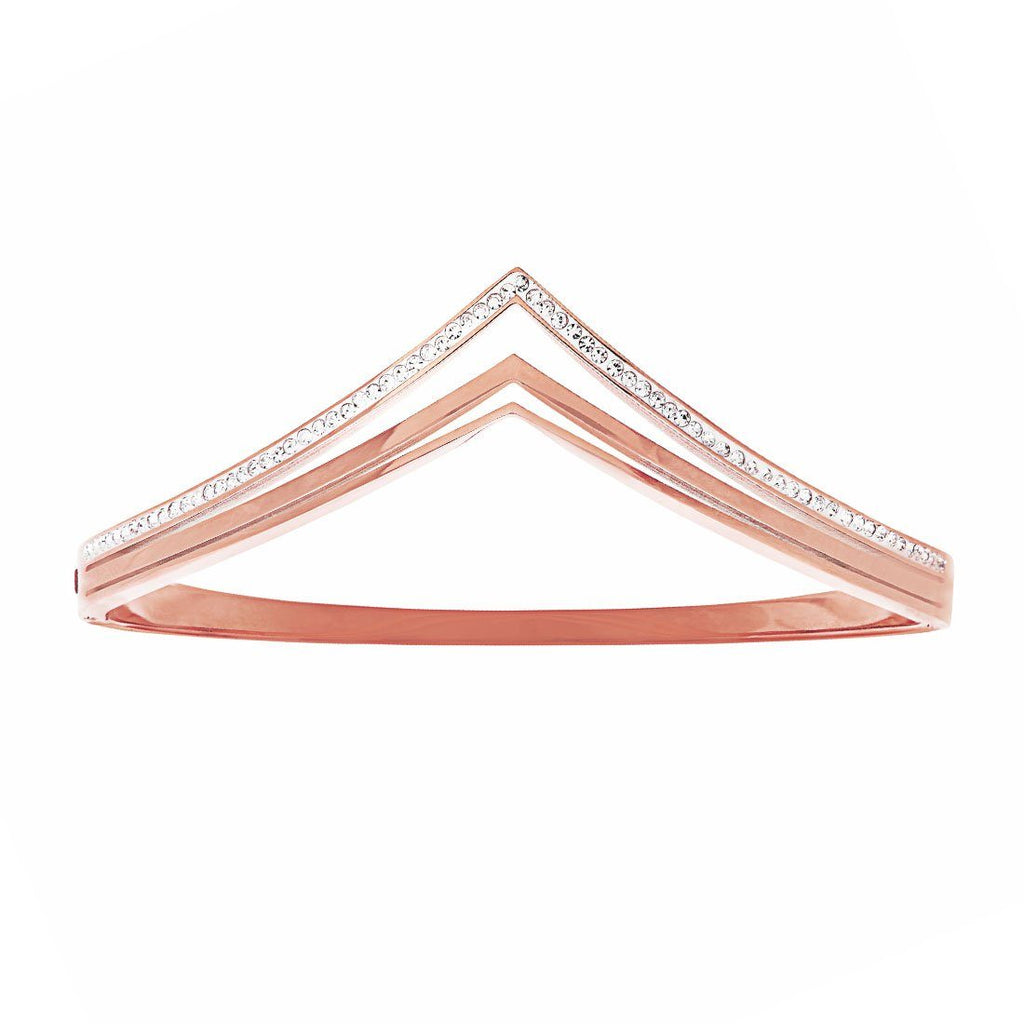 Pave Crystal V Shape Bangle in Rose Stainless Steel Bracelets Bevilles