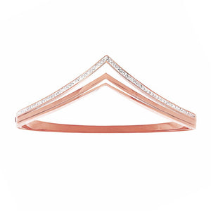 Pave Crystal V Shape Bangle in Rose Stainless Steel