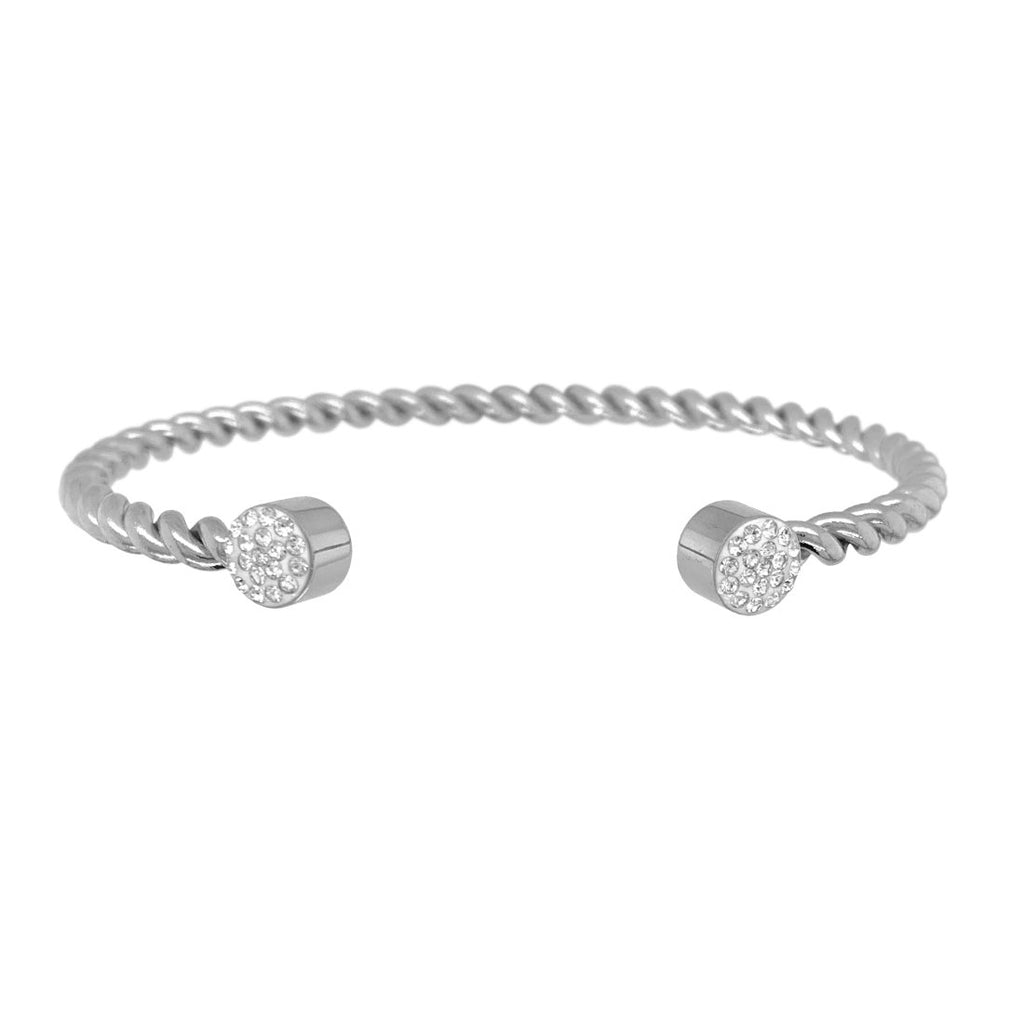 Pave Crystal Twist Cuff Bangle in Stainless Steel Bracelets Bevilles