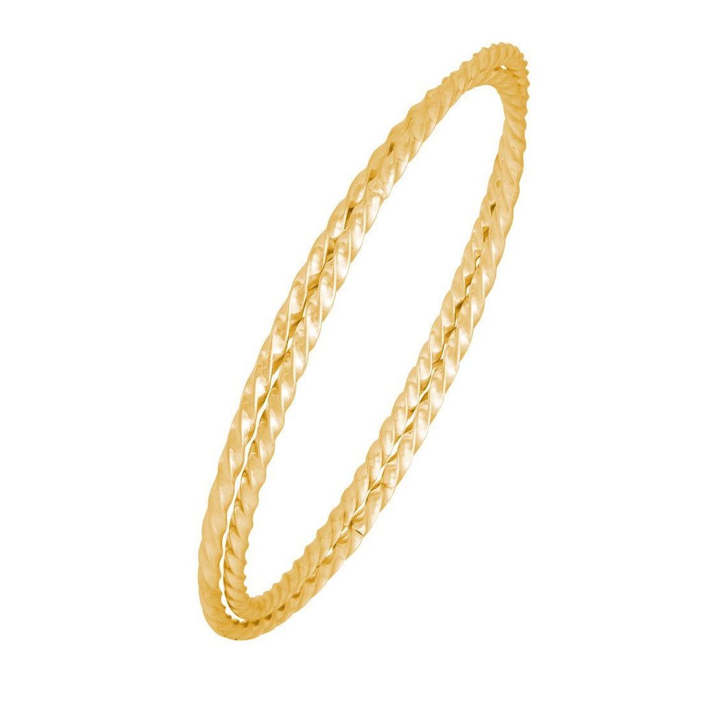 Double Twist Bangle in Gold Stainless Steel Bracelets Bevilles