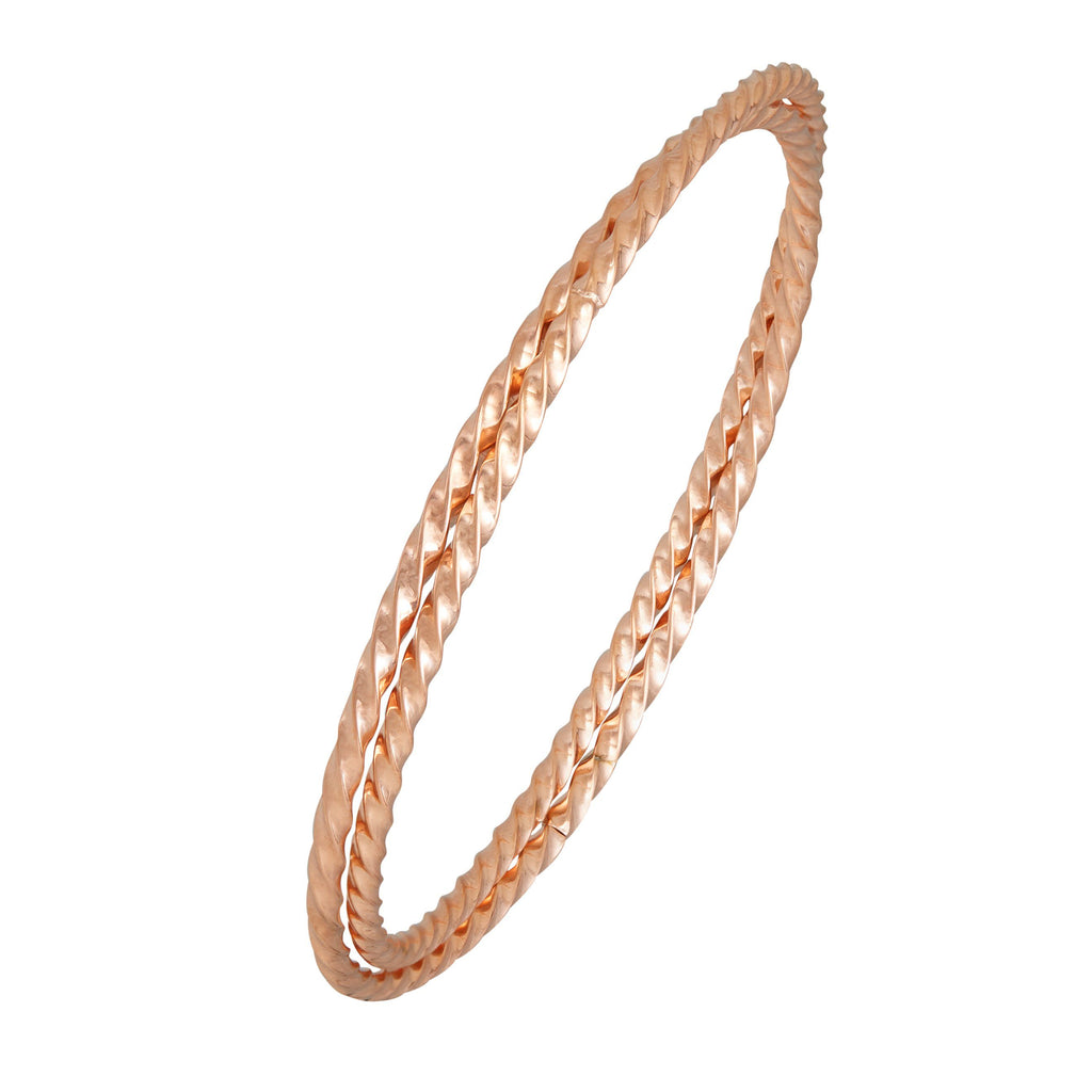 Double Twist Bangle in Rose Stainless Steel Bracelets Bevilles