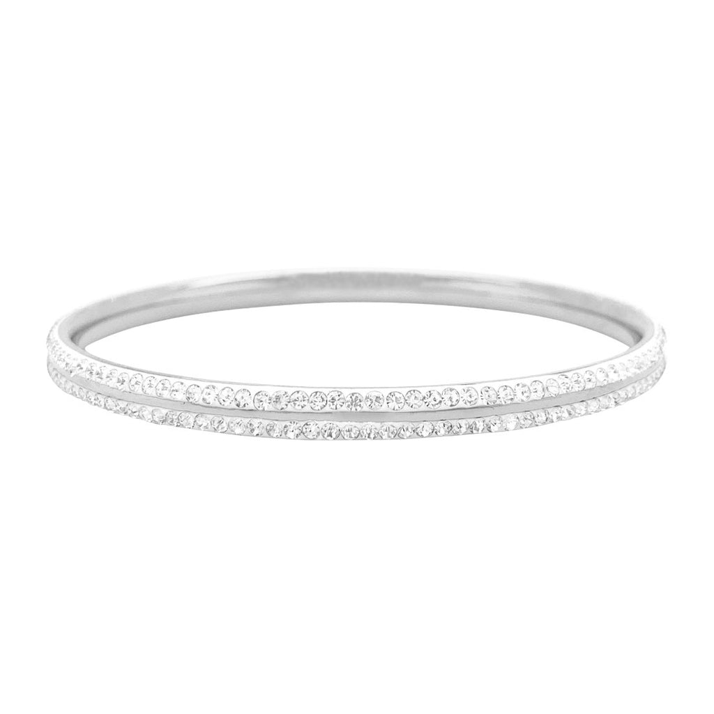 Double Pave Crystal Bangle in Stainless Steel Bracelets Bevilles