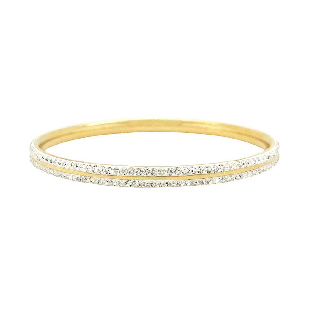 Pave Crystal Bangle in Gold Stainless Steel Bracelets Bevilles