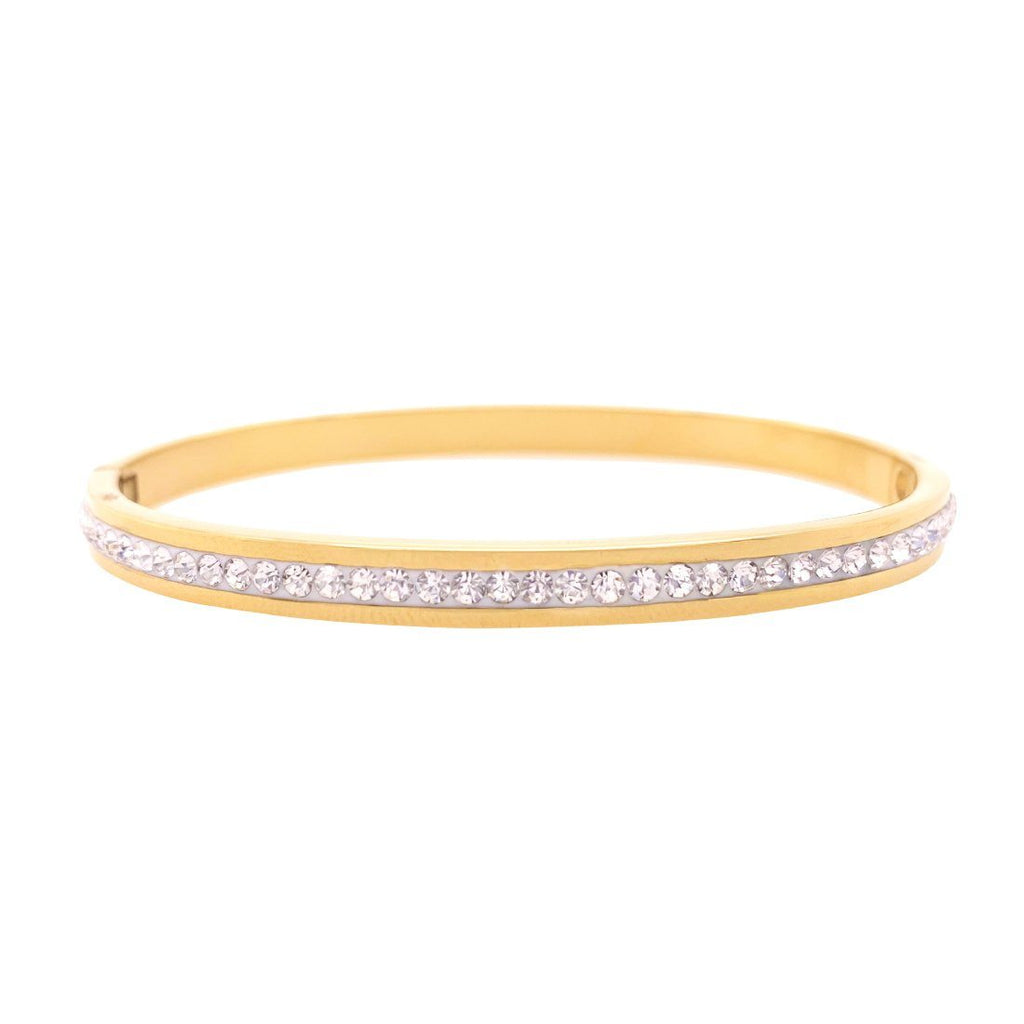 Crystal Pave Bangle in Yellow Stainless Steel Bracelets Bevilles