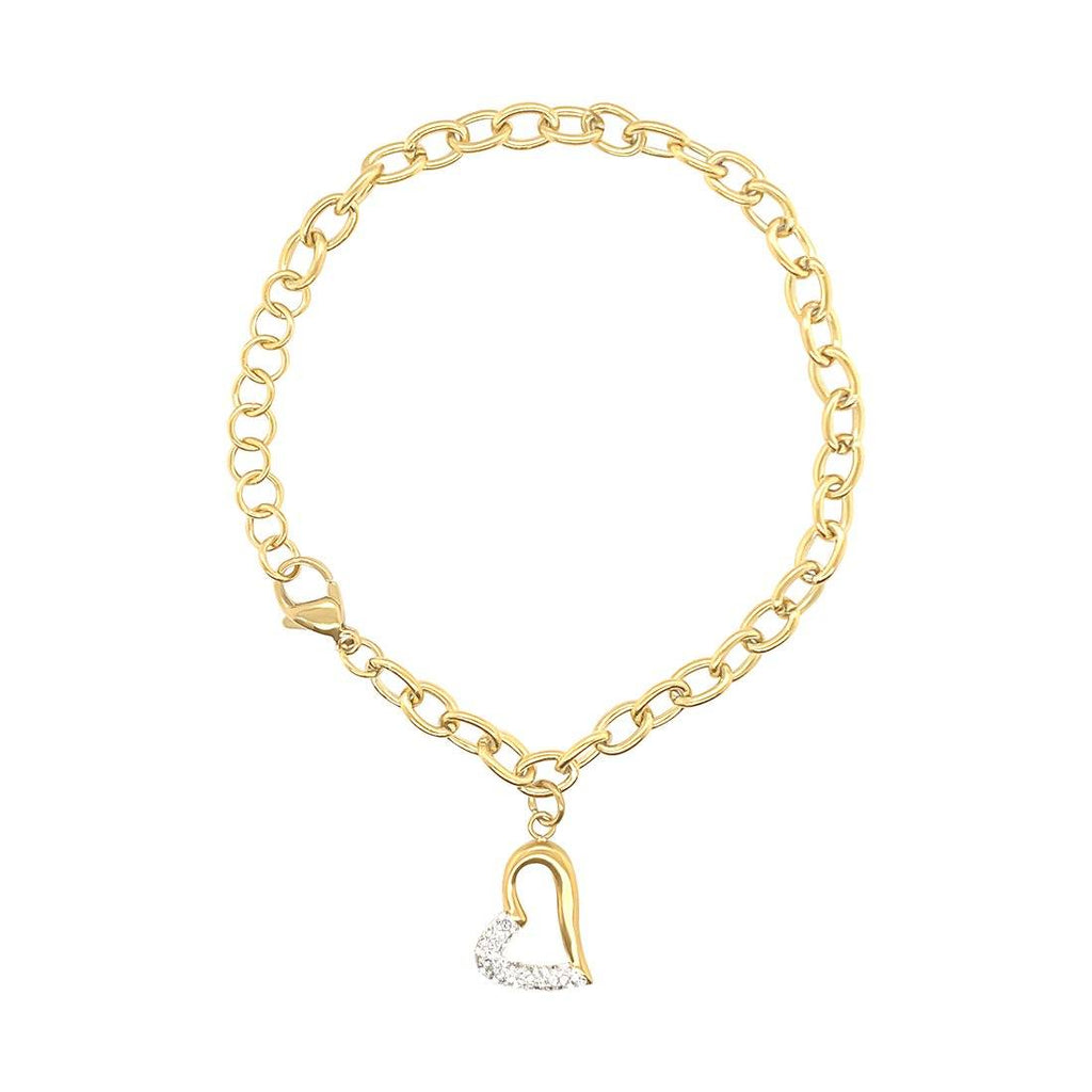 White Pave Crystal Open Heart Bracelet in Yellow Stainless Steel Bracelets Bevilles