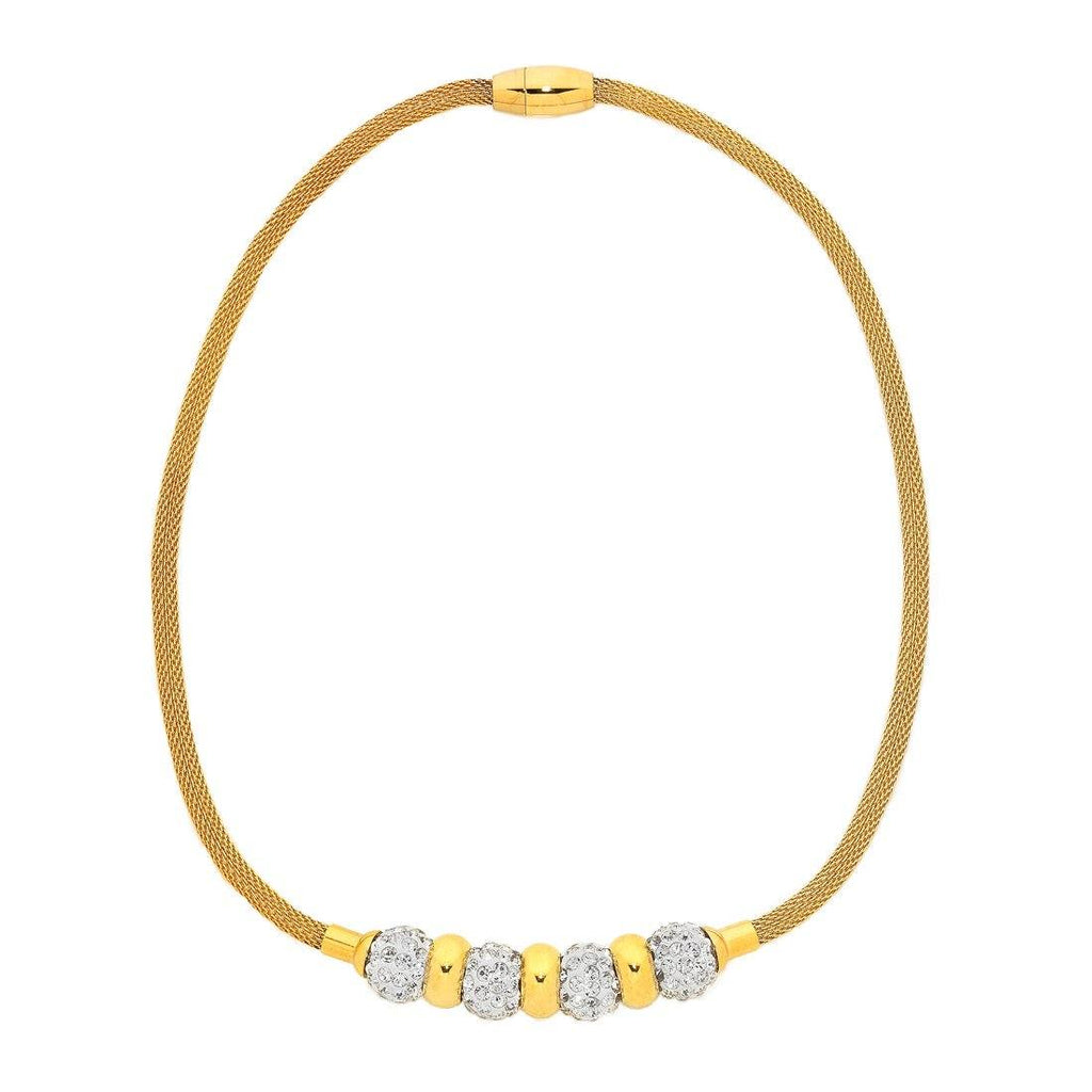 Stainless Steel Gold Colour Mesh Necklace with Crystal Balls