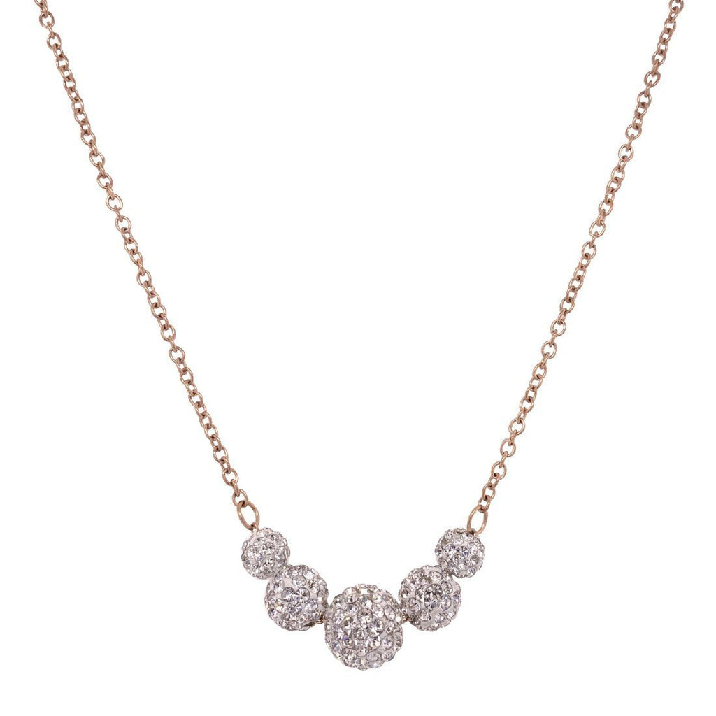 Stainless Steel Rose Crystal Pave Ball Necklace Necklaces Bevilles