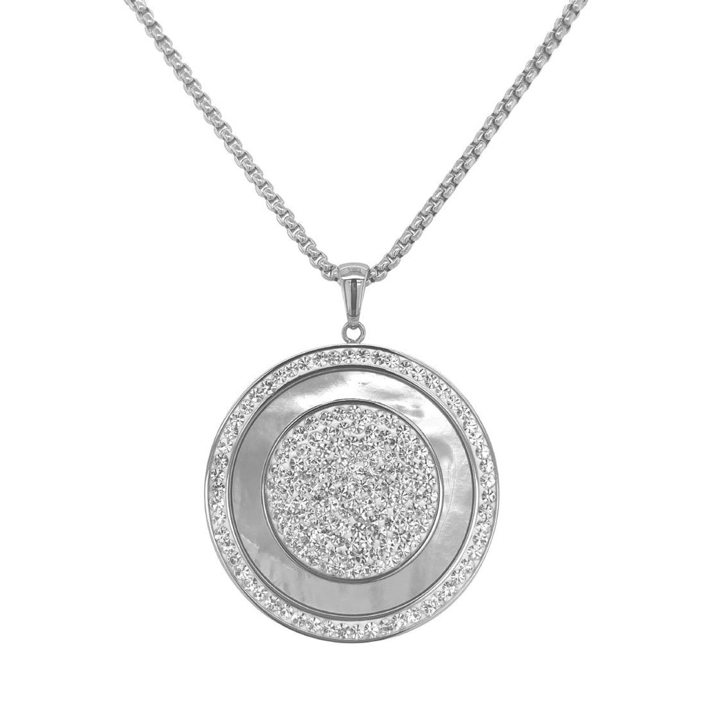 Stainless Steel Mother of Pearl Disc Necklace